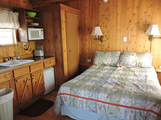 There are six cozy cabins available to rent at Faywood Hot Springs Resort.   Each cabin has a sleeping loft, kitchenette and full bathroom.