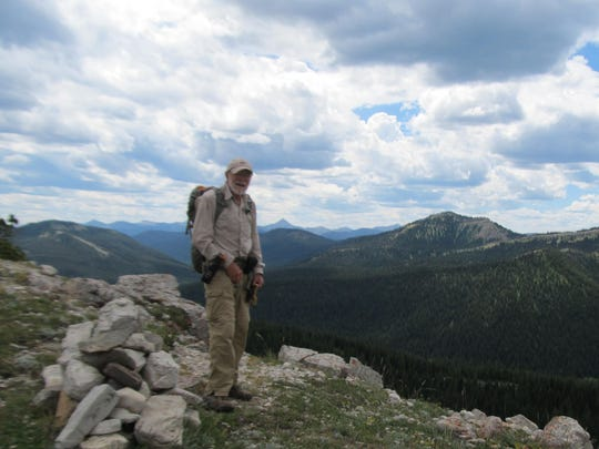 Ernie Vyse on top of the world along the Continental Divide in the Bob Marshall Wilderness.