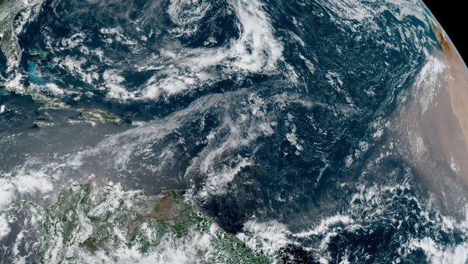 GOES-East satellite image shows large Saharan dust plume on June 11, 2020. NOAA