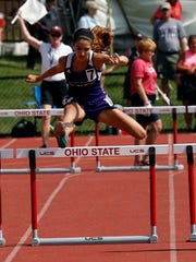 Mount Gilead's Allison Johnson runs in the 300 meter hurdles Saturday, June 2, 2018, during the state track and field championship at Jesse Owens Memorial Stadium in Columbus.