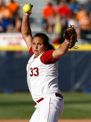 Alabama starting pitcher Jackie Traina pitches against Tennessee during the first inning of a Women's College World Series softball game in Oklahoma City, Thursday, May 31, 2012. Alabama won 5-3. (AP Photo/Alonzo Adams)