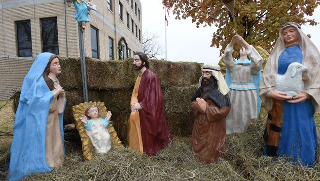 A view of the nativity scene located on the Baxter County Courthouse lawn.
