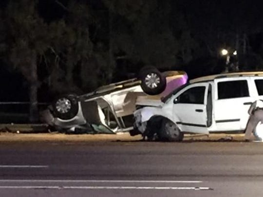 A three-vehicle crash on Golden Gate Boulevard resulted in fatal injuries for a Naples man Saturday night.