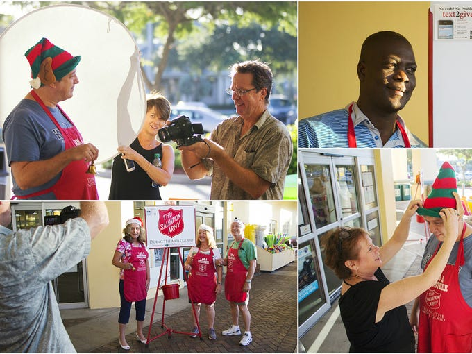 Scenes from the filming of a Salvation Army public