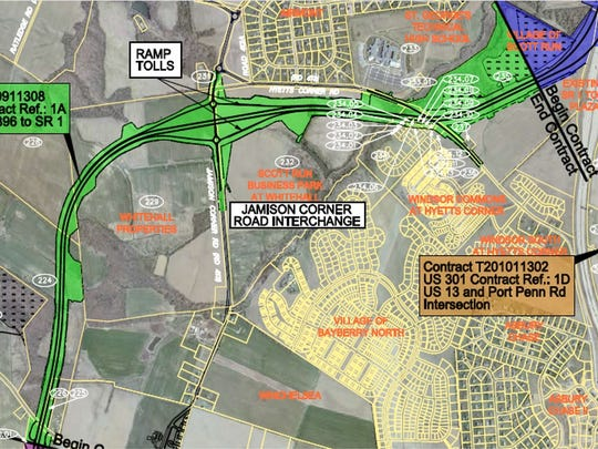 DelDOT took bids Tuesday for the Jamison Corner Road interchange section of the proposed U.S. 301 toll road, west of the current Del. 1 toll plaza and south of Hyetts Corner Road.