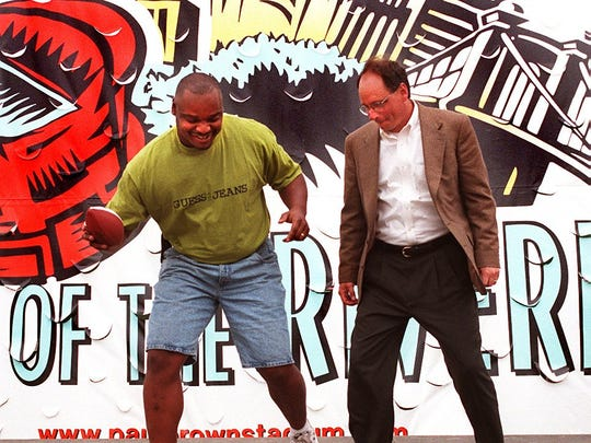 Ickey Woods and then Hamilton County Commissioner Bob Bedinghaus do the Ickey Shuffle at the groundbreaking for PBS in April of 1998.