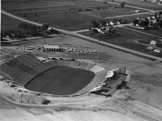 The intersection of Ridge Road and Highland Avenue was more vacant than occupied when City Stadium was built in 1957 by Geo. M. Hougard & Sons Inc.