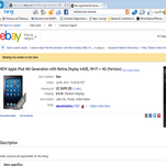 Open source search shows a verified stolen iPad being sold on eBay by one of the suspects