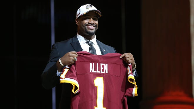 Jonathan Allen (Alabama) is selected as the number 17 overall pick to the Washington Redskins in the first round the 2017 NFL Draft at the Philadelphia Museum of Art.