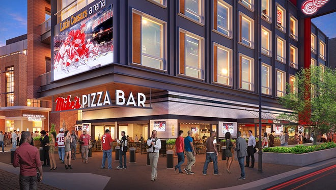 A rendering of Mike's Pizza Bar, expected to open at Little Caesars Arena when it debuts in September 2017.