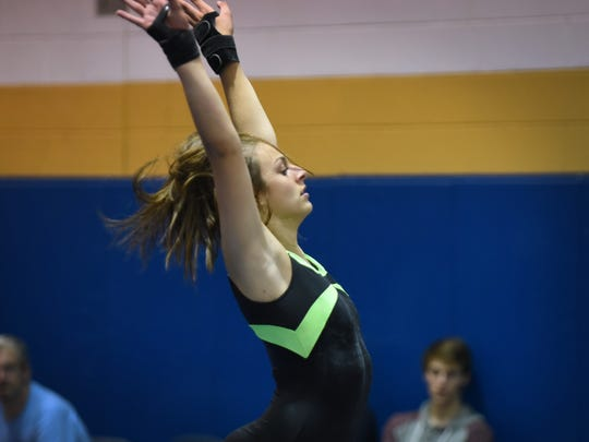 Jill LaPresti of Ramapo performs in the floor exercises