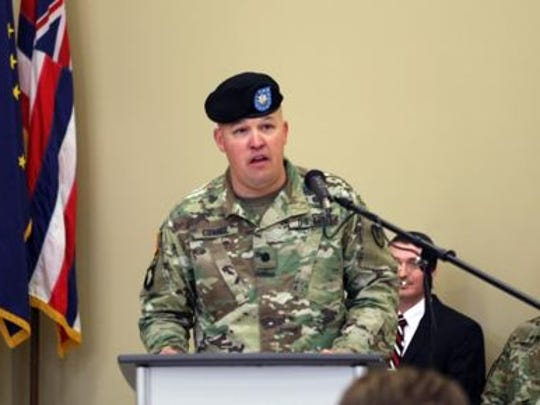 The outgoing commander, Lt. Col. Trenton Conner, provides farewell remarks during the Letterkenny Munitions Center Change of Command Ceremony, June 6.