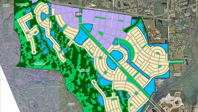 The proposed layout of Avalon Park, a development planned for LPGA Boulevard in Daytona Beach that has become controversial.