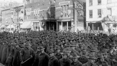 Camp Sherman soldiers seen in Chillicothe in 1917. The camp was ravaged by the 1918 flu, infecting many from across Ohio and Licking County.