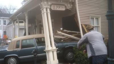 No serious injuries were reported Wednesday, March 12, 2014, when a car crashed through the front of Il Portico Italian Restaurant & Bar on Main Street in Tappan.