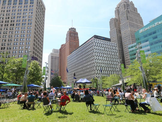 Campus Martius in downtown Detroit  at lunch time on in August 2015.