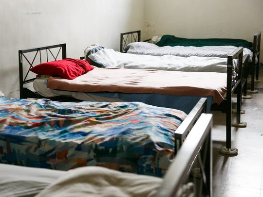 Beds at Union Gospel Mission in Downtown Salem on Monday,