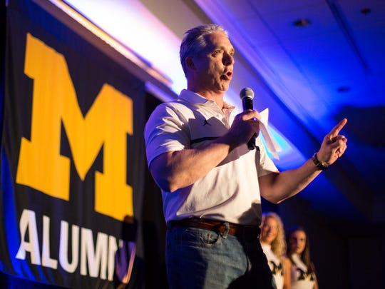 Michigan basketball radio broadcaster Matt Shepard speaks during a pep rally at San Antonio Marriott Riverwalk for the Final Four in San Antonio, Texas, Friday, March 30, 2018.
