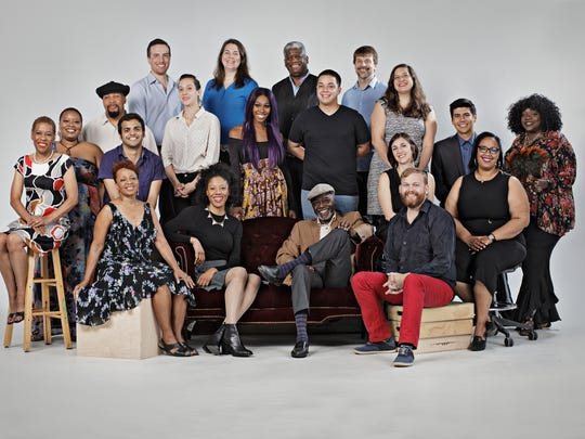 The 2018  Kresge  Artist  Fellows: (All left to right) Front  Row: Michelle  May,  Penny  Godboldo,  Morgan  Breon,  Dwight  (Skip) Stackhouse, Jake  Hooker  (A  Host  of  People) 