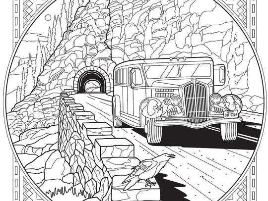 """A page from the """"Glacier National Park Adult Coloring"""