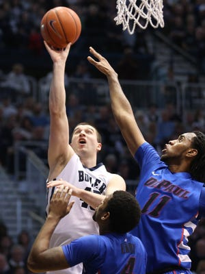 Butler's Andrew Chrabascz shoots against DePaul in the second half of the Bulldogs' 83-73 victory at Hinkle Fieldhouse on Feb. 7, 2015.