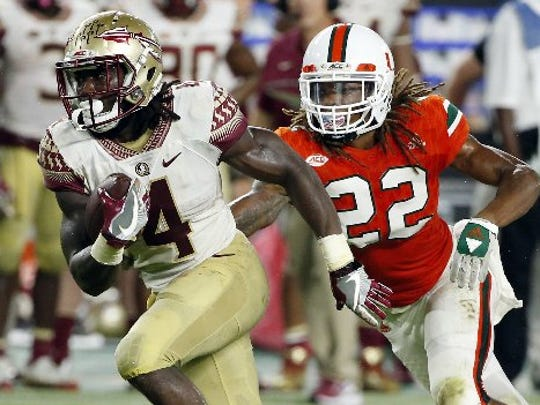 In this Oct. 8, 2016, file photo, Florida State running