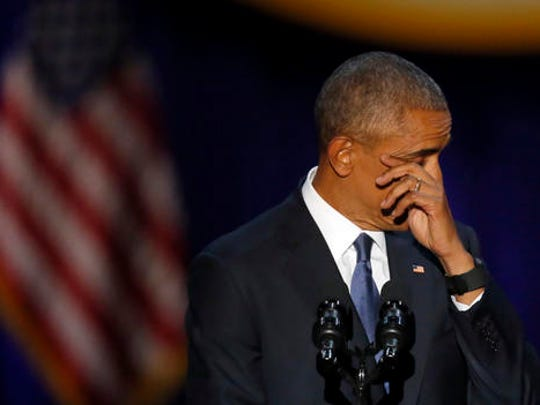 President Barack Obama wipes his tears as he speaks at McCormick Place in Chicago, Tuesday, Jan. 10, 2017, giving his presidential farewell address.