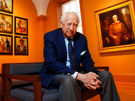 """FILE - In this May 13, 2011 file photo, historian and author David McCullough poses at the National Portrait Gallery, in Washington. McCullough's latest book, """"The American Spirit,"""" is a collection of talks he has given over the past 30 years. Known for such best-sellers as """"John Adams"""" and """"The Wright Brothers,"""" McCullough also is one of the country's most popular speakers, in demand at colleges, historical societies and political gatherings, including a joint session of Congress in 1989."""
