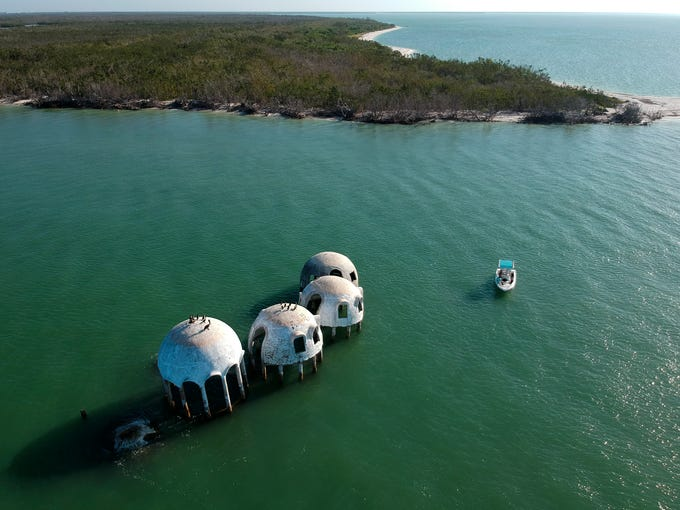 An aerial view of the infamous dome home off of Cape