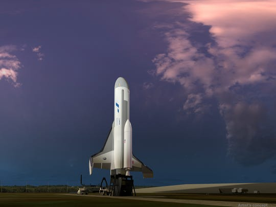 Concept image of Boeing's Phantom Express on a launch pad. Boeing is developing the vehicle under the Defense Advanced Research Projects Agency's Experimental Spaceplane 1, or XS-1, program.