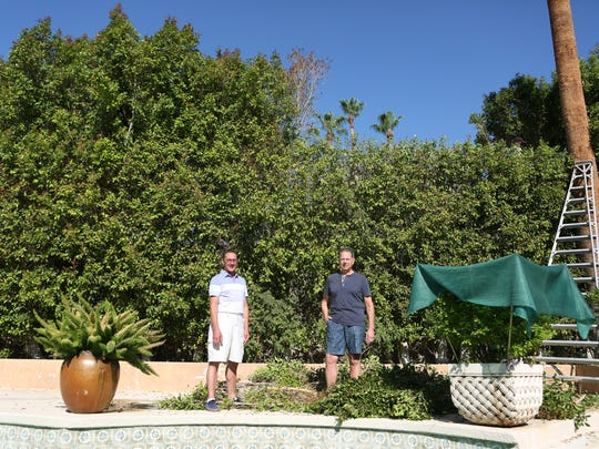 Homeowners Douglas Lawellin (left) and Steven Rohlin are currently in a legal battle with the city of Indian Wells over the height of their hedge. The couple was photographed at their home on Friday, June 24, 2016 in Indian Wells, Calif.