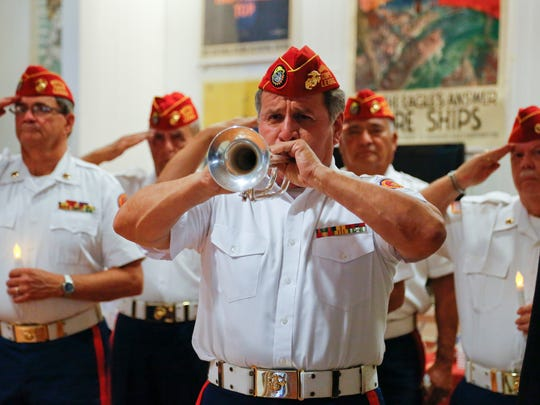 Taps is played during Friday's POW/MIA  ceremony held by the Veterans of Foreign Wars in Simi Valley.