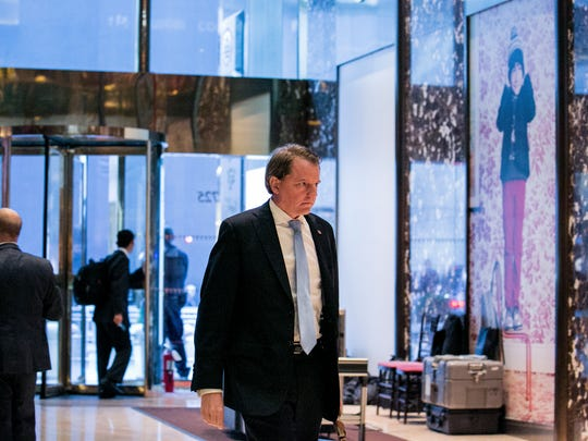 FILE -- Donald McGahn, a Washington election lawyer, walks into the lobby of Trump Tower on Fifth Avenue in New York, Nov. 18, 2016. President-elect Donald Trump named McGahn as his choice for White House counsel. (Sam Hodgson/The New York Times)