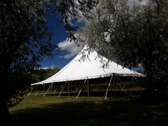 A large tent used by Enchanted Celebrations stands on Monday, Oct. 2, 2017 in Aztec.