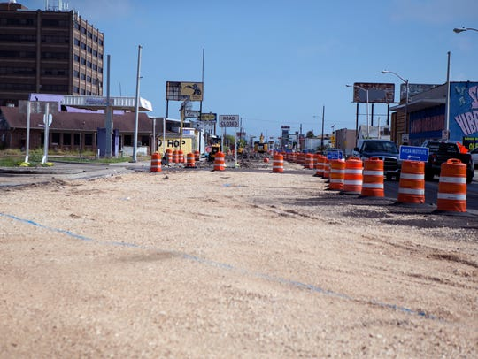 Road construction at South Staples Street near six