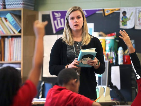 Brodi Ott, a teacher at Pierce Elementary School, reviews