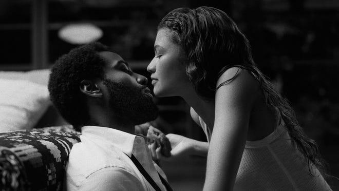 """John David Washington and Zendaya in a scene from """"Malcolm & Marie."""""""