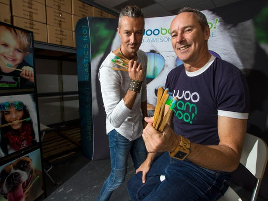 From left, Christopher Fous, CEO of WooBamboo, and