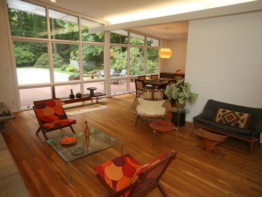 The living room in the refurbished Mid-Century modern home for sale in Rye Brook, Sept. 30, 2014.
