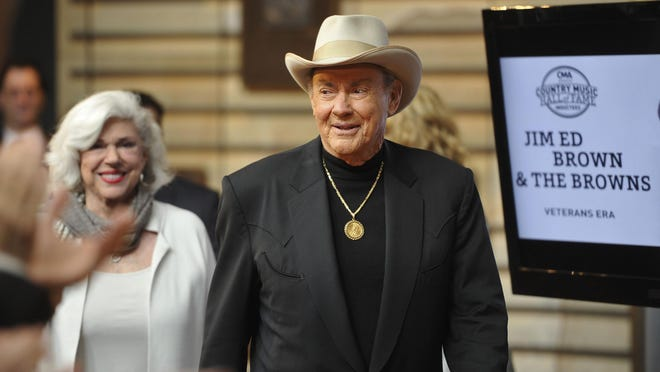 Jim Ed Brown arrives at the Hall of Fame announcement. On Wednesday morning, The Oak Ridge Boys, Jim Ed Brown and The Browns gathered at the Country Music Hall of Fame & Museum for the public announcement that they would be 2015 inductees into country's most elite group, along with the late guitarist/fiddler Grady Martin (1929-2001). Wednesday March 25, 2015, in Nashville, Tenn.