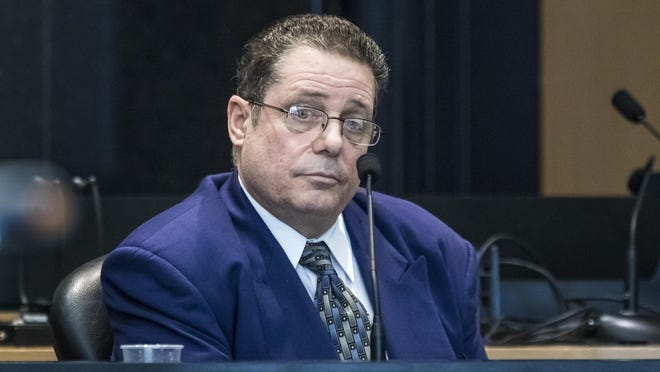 William Dabbs testifies in his own defense Thursday, Feb. 6, 2020, during his retrial for murder. An appeals court granted the former Delray Beach construction worker a new trial in the 2011 shooting death of his 41-year-old boss, Larry Modena, in a Home Depot parking lot on Woolbright Road.