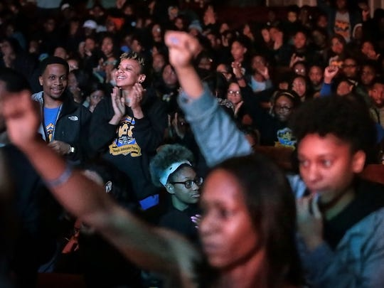 A crowd listens to Angela Rye at the Orpheum during the I Am A Man Commemoration rally Saturday morning sponsored by the city of Memphis to kick off a series of MLK50 events in the city. Hundreds turned out for motivational speakers, spoken word performances and live music.