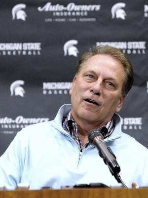 Michigan State University basketball coach Tom Izzo addresses the media during his season-ending press conference Tuesday in the Breslin Center pressroom.