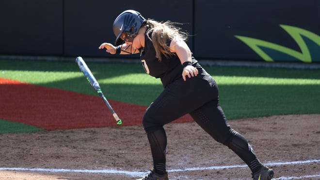 Oregon's Hailey Decker bats against the UCLA Bruins in Game 2 of the NCAA super regional on Sunday, May 29, 2016, at Jane Sanders Stadium in Eugene. Bruins defeated Ducks 2-1.