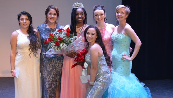 Miss Vineland 2017 contestants are pictured after the contest. From left are Anahi Montero, Divine Cardona (first runner-up), the winner Jada Dion Morgan, Cassidy Campanella, Shellby Watts (second runner-up) and in front Tabitha Rodriguez.