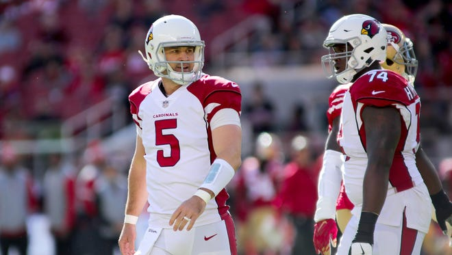 Nov 5, 2017: Arizona Cardinals quarterback Drew Stanton (5) reacts during the first quarter against the San Francisco 49ers at Levi's Stadium.