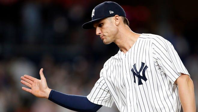 New York Yankees first baseman Greg Bird (33) celebrates after defeating the Boston Red Sox at Yankee Stadium.