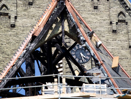 Charred beams can be seen at Trinity Evangelical Lutheran