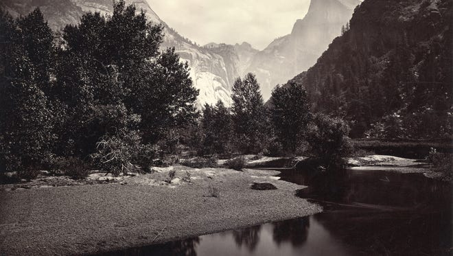 """""""Distant View of the Domes, Yosemite, California,"""" about 1880, through the lens of Carleton E. Watkins (1829–1916), mammoth albumen print. Collection of Michael Mattis and Judith Hochberg"""