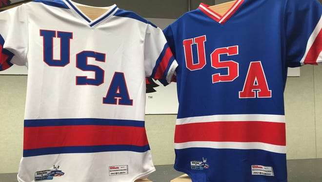 """The Red WIngs (home whites) and Buffalo Bisons (road blues) will wear Team USA """"hockey"""" jerseys on Friday during Relive the Miracle night at Frontier Field."""